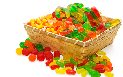 A basket with candy in it
